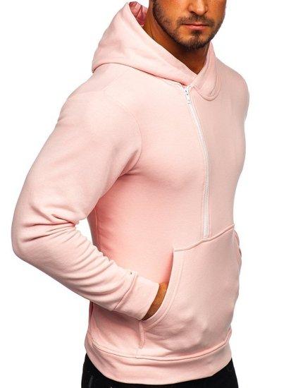 Růžová pánská mikina s kapucí a potiskem Bolf 01
