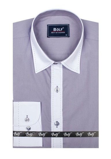 Šedá pánská elegantní košile s dlouhým rukávem Bolf 6882