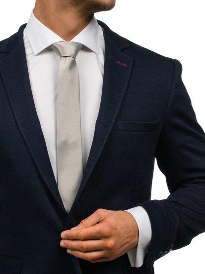 Šedá pánská elegantní kravata Bolf K001