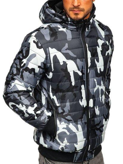 Šedá pánská maskáčová sportovní přechodová bunda Bolf MY13M