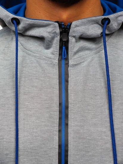 Šedá pánská mikina na zip s kapucí Bolf DD20152