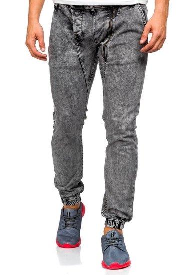 Šedé pánské džínové jogger kalhoty Bolf 408-1