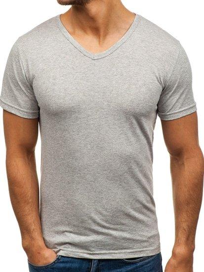 Šedé pánské tričko bez potisku s výstřihem do V Bolf 1002