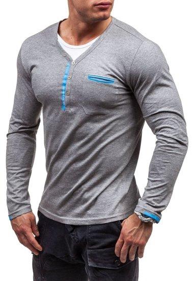 Šedé pánské tričko s dlouhým rukávem bez potisku Bolf 6161