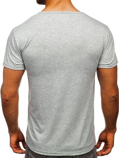 Šedé pánské tričko s potiskem Bolf KS1946