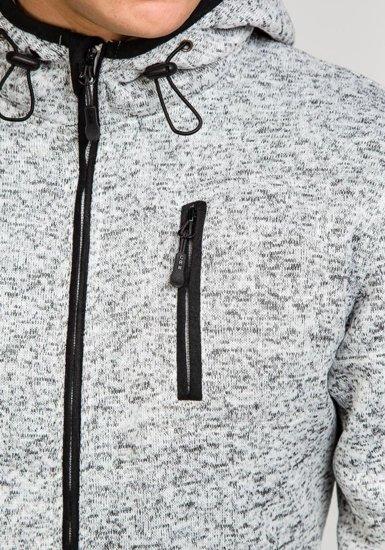 Šedo-černá pánská mikina s kapucí Bolf 3562A