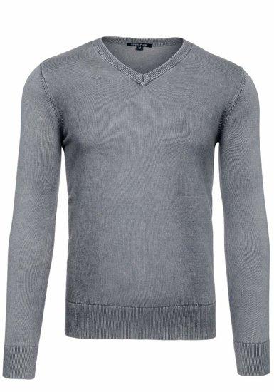 Šedý pánský svetr s výstřihem do V Bolf 6029