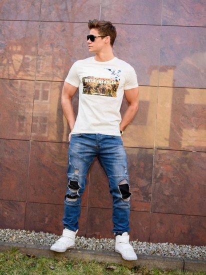 Stylizace č. 198 - tričko s dlouhým rukávem a potiskem, džínové tepláky jogger, tenisky