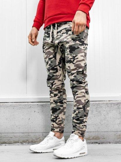 Tmavě béžové pánské maskáčové jogger kalhoty Bolf 0367