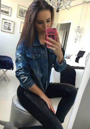 Tmavě modrá dámská džínová bunda Bolf 5131