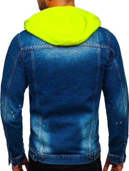 Tmavě modrá pánská džínová bunda s kapucí Bolf 1-2