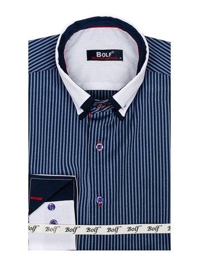 Tmavě modrá pánská elegantní košile s dlouhým rukávem Bolf 2790