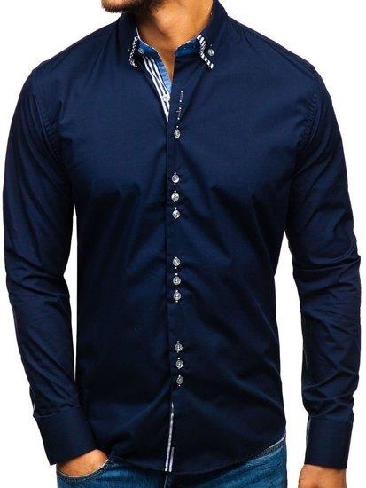 Tmavě modrá pánská elegantní košile s dlouhým rukávem Bolf 4703