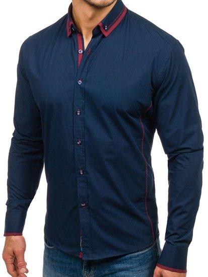 Tmavě modrá pánská elegantní košile s dlouhým rukávem Bolf 4720