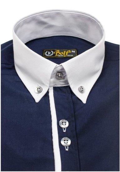 Tmavě modrá pánská elegantní košile s dlouhým rukávem Bolf 5726