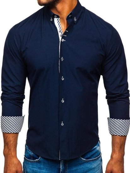 Tmavě modrá pánská elegantní košile s dlouhým rukávem Bolf 5796-1