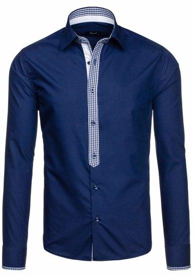 Tmavě modrá pánská elegantní košile s dlouhým rukávem Bolf 6873