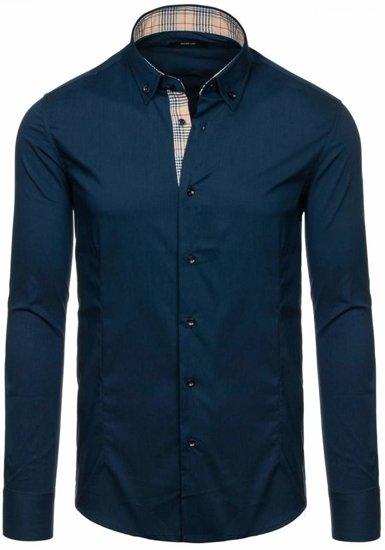 Tmavě modrá pánská elegantní košile s dlouhým rukávem Bolf 7197