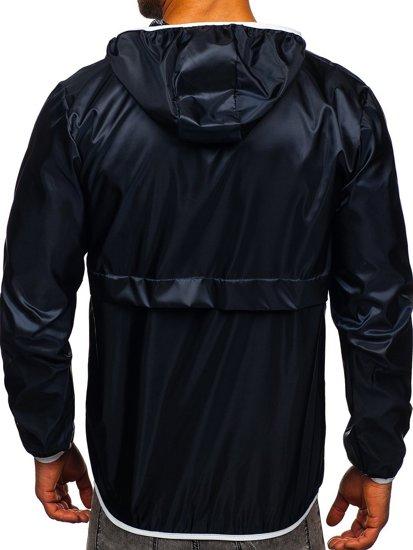 Tmavě modrá pánská přechodová sportovní bunda s kapucí Bolf 5061