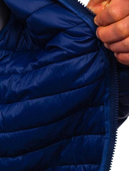 Tmavě modrá pánská prošívaná přechodová bunda Bolf LY33