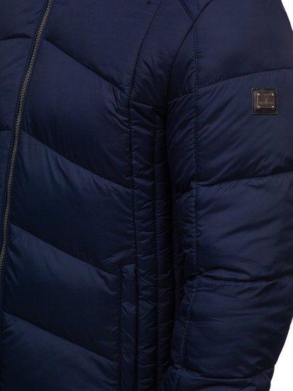 Tmavě modrá pánská prošívaná sportovní zimní bunda Bolf AB102