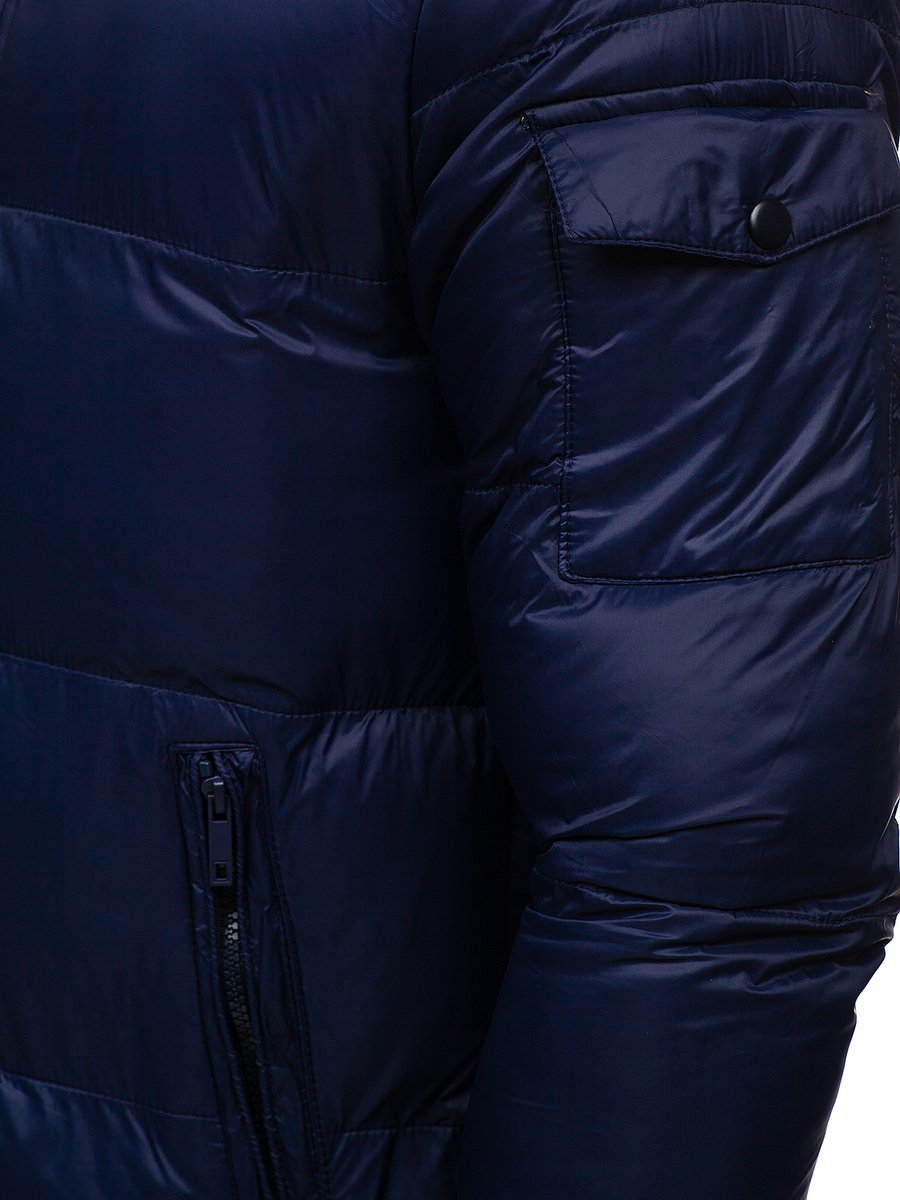 Tmavě modrá pánská prošívaná zimní bunda Bolf 1161