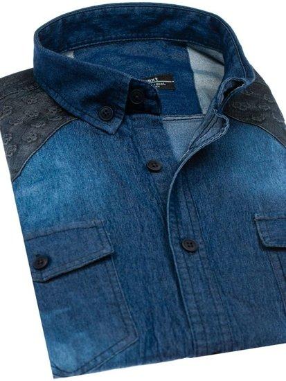 Tmavě modrá pánská vzorovaná košile s dlouhým rukávem Bolf 0517