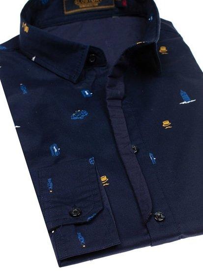 Tmavě modrá pánská vzorovaná košile s dlouhým rukávem Bolf 1757