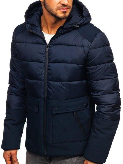 Tmavě modrá pánská zimní bunda Bolf B1280