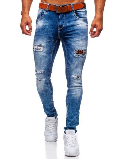 Tmavě modré pánské džíny slim fit s páskem Bolf 8027S0