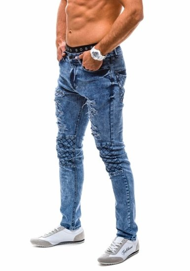 Tmavě modré pánské kalhoty džíny Bolf 4372 (8142)-1