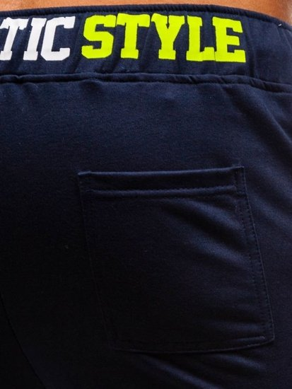 Tmavě modré pánské teplákové kraťasy Bolf EX05