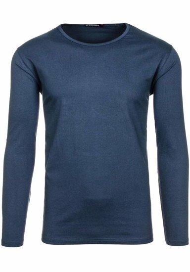 Tmavě modré pánské tričko s dlouhým rukávem bez potisku Bolf 5549