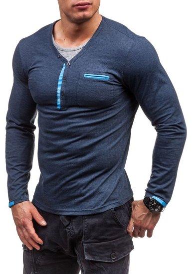 Tmavě modré pánské tričko s dlouhým rukávem bez potisku Bolf 6161