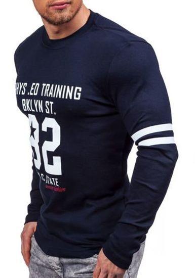 Tmavě modré pánské tričko s dlouhým rukávem s potiskem Bolf 4245