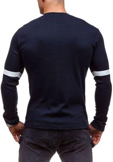 Tmavě modré pánské tričko s dlouhým rukávem s potiskem Bolf 4634