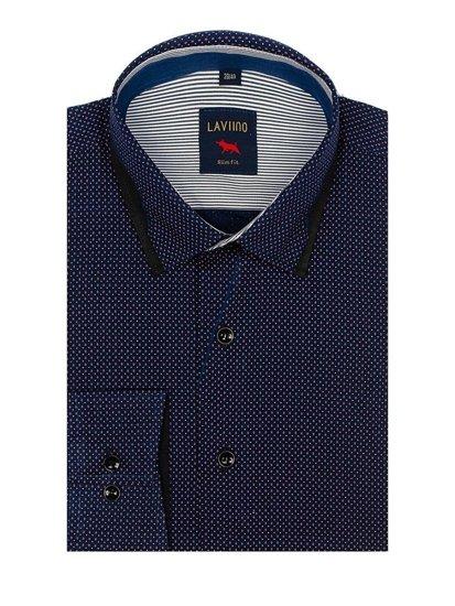 Tmavě modro-modrá pánská vzorovaná košile s dlouhým rukávem Bolf TS102