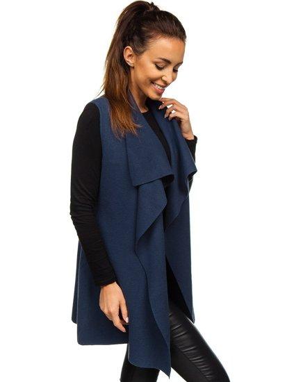 Tmavě modrý dámský svetr kardigan bez rukávů Bolf AL0220l
