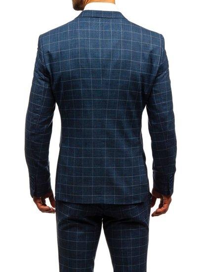 Tmavě modrý pánský kostkovaný oblek s vestou Bolf 18200