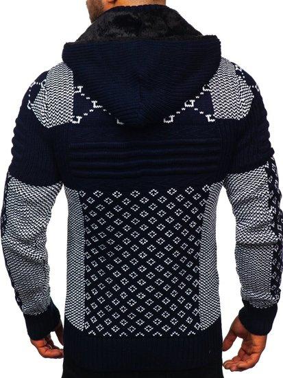 Tmavě modrý pánský silný svetr na zip s kapucí bunda Bolf 2060