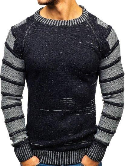Tmavě modrý pánský svetr Bolf 6007