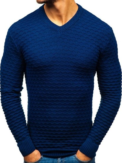 Tmavě modrý pánský svetr s výstřihem do V Bolf 6005