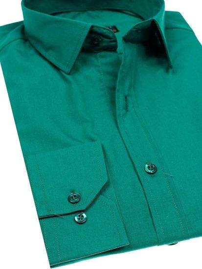 Tmavě zelená pánská elegantní košile s dlouhým rukávem Bolf 1703