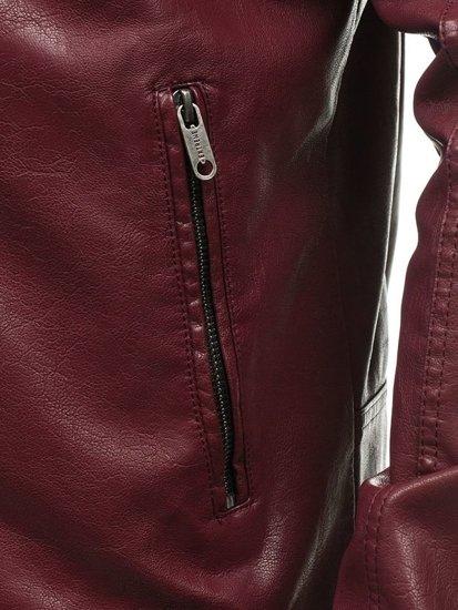 Vínová pánská kožená bunda z ekokůže Bolf EX388