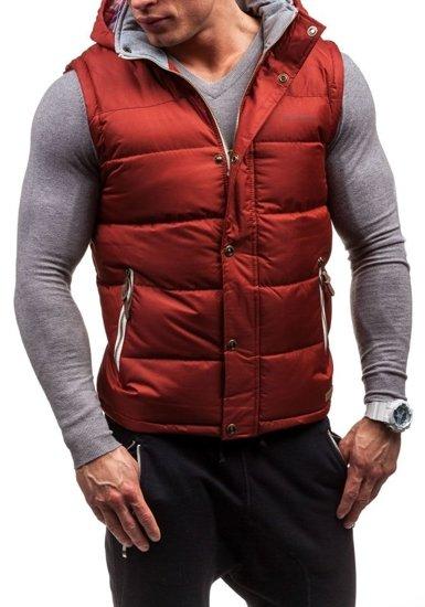 Vínová pánská vesta s kapucí Bolf K020