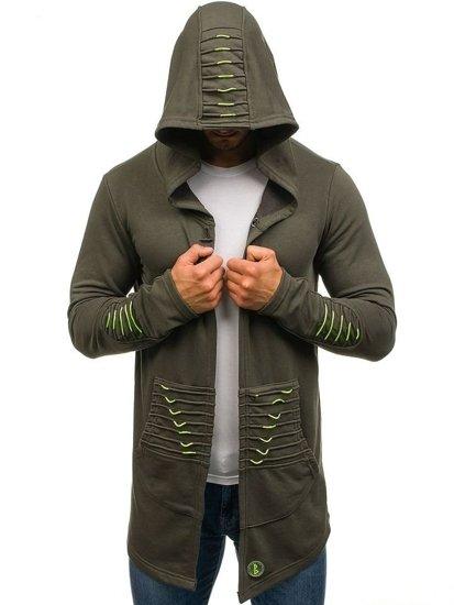 Zelená pánská dlouhá mikina s kapucí Bolf 171369