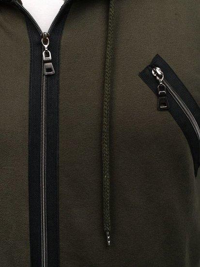 Zelená pánská dlouhá mikina s kapucí Bolf NRT540