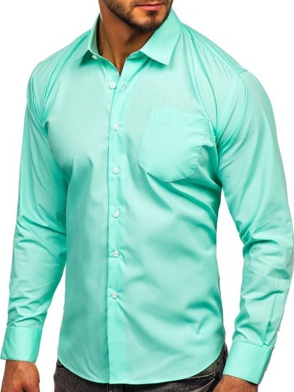 Zelená pánská elegantní košile s dlouhým rukávem Bolf 0003