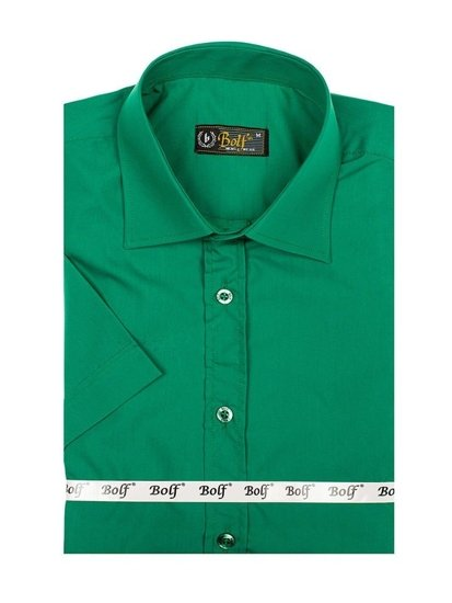 Zelená pánská elegantní košile s krátkým rukávem Bolf 7501