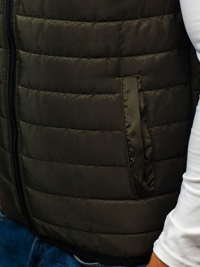 Zelená pánská vesta s kapucí Bolf AK88